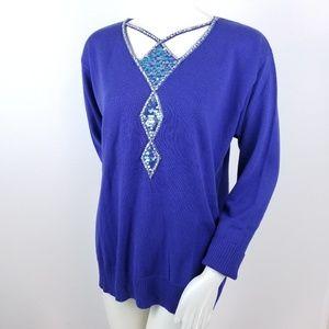 Bob Mackie Sweater Wearable Art M Sequin Blue